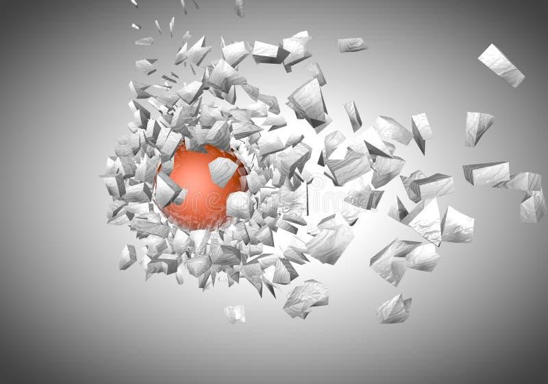 shpaes 3d abstratos de explosão da esfera ilustração do vetor