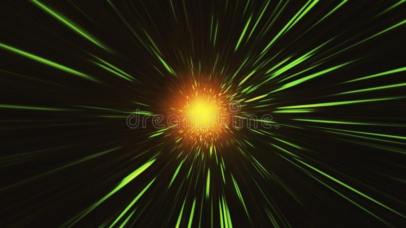 Shpere oro-rojo que brilla intensamente con los rayos de la luz ilustración del vector