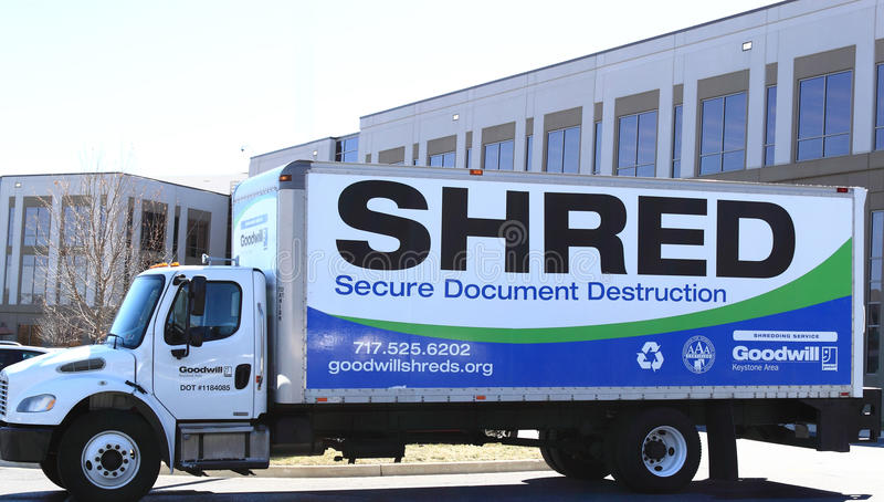 Mobile Document Shredding Truck stock photo