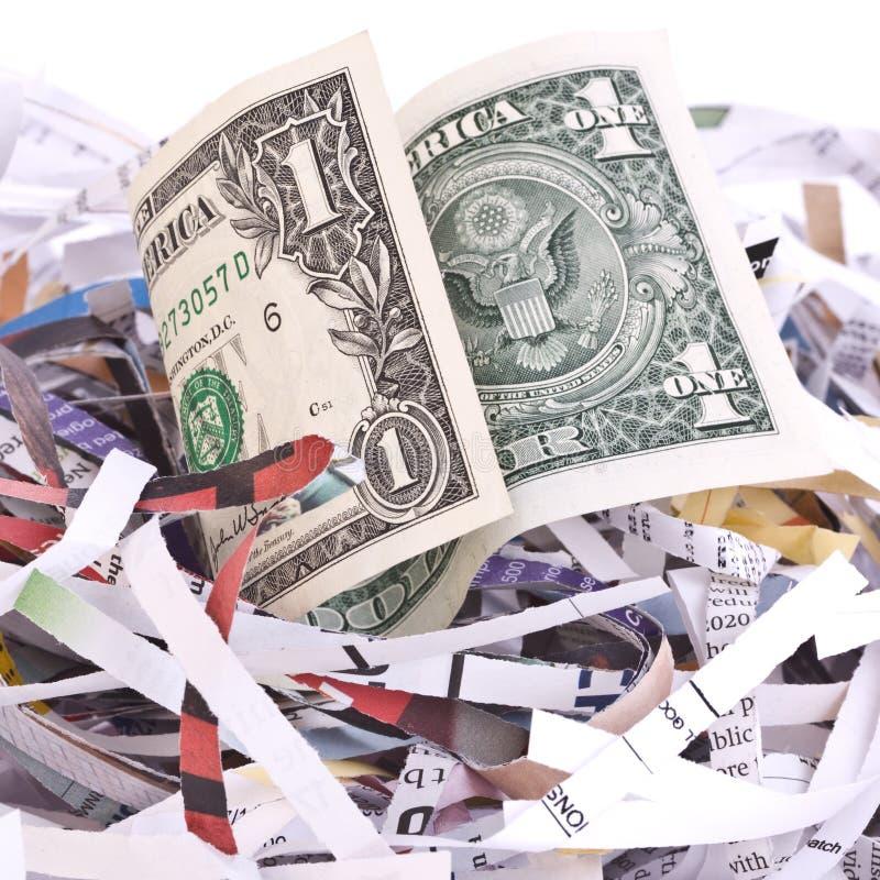 shredded бумага доллара счета стоковая фотография