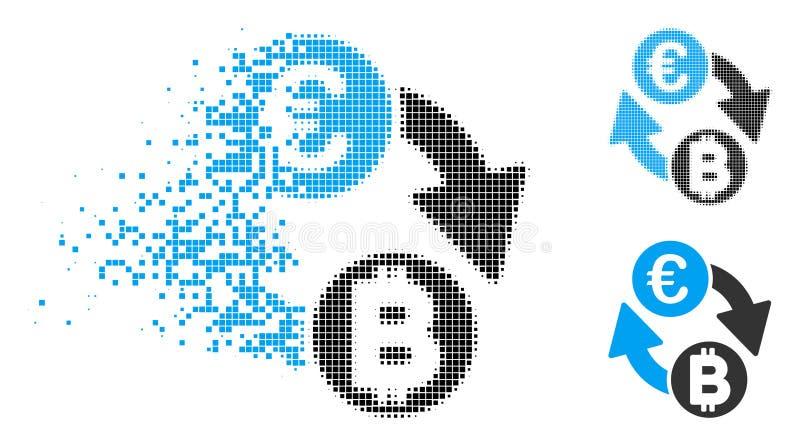 Shredded обмен Bitcoin евро полутонового изображения пиксела чеканит значок иллюстрация штока