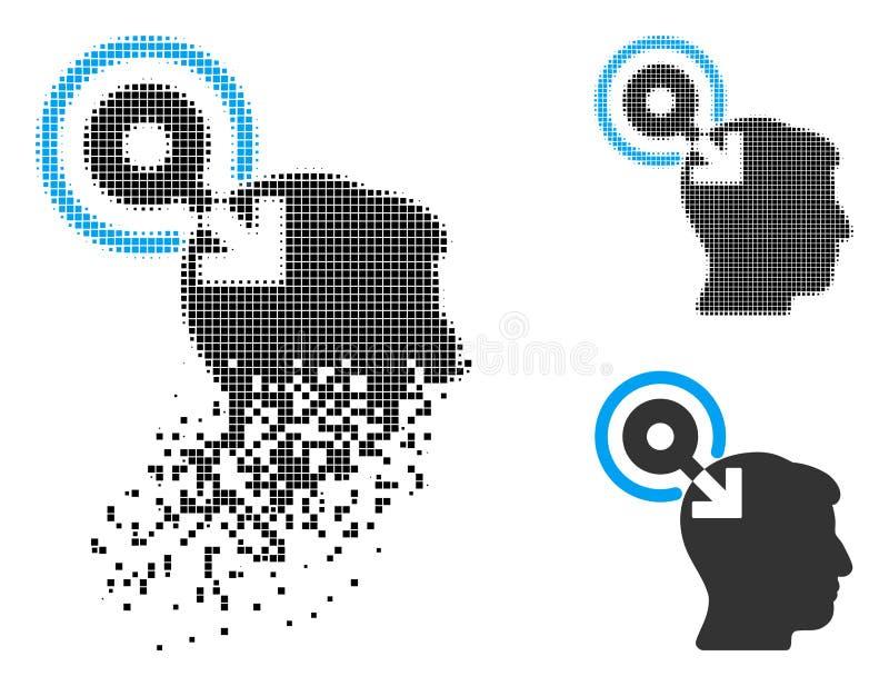 Shredded поставленный точки значок Plug-In интерфейса мозга полутонового изображения иллюстрация вектора