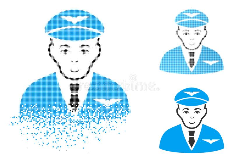 Shredded Pixel Halftone Pilot Icon with Face vector illustration
