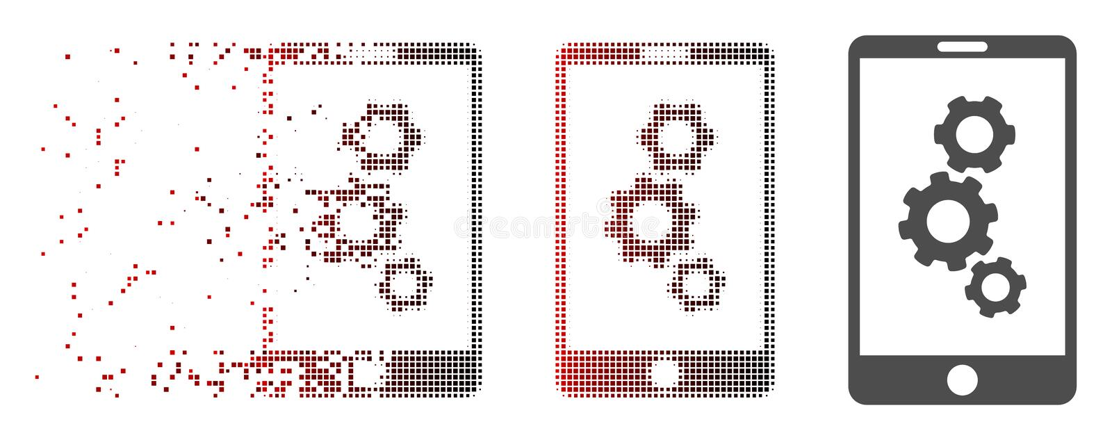 Shredded Pixel Halftone Smartphone Gears Icon. Vector smartphone gears icon in fractured, pixelated halftone with red to black horizontal gradient and undamaged stock illustration