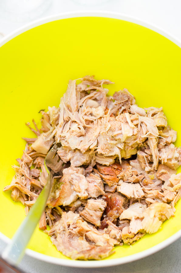Download Shredded pork meat stock photo. Image of hands, collage - 35856956