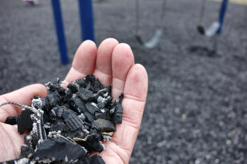 Shredded Recycled Tire Floor for Playground Safety royalty free stock images