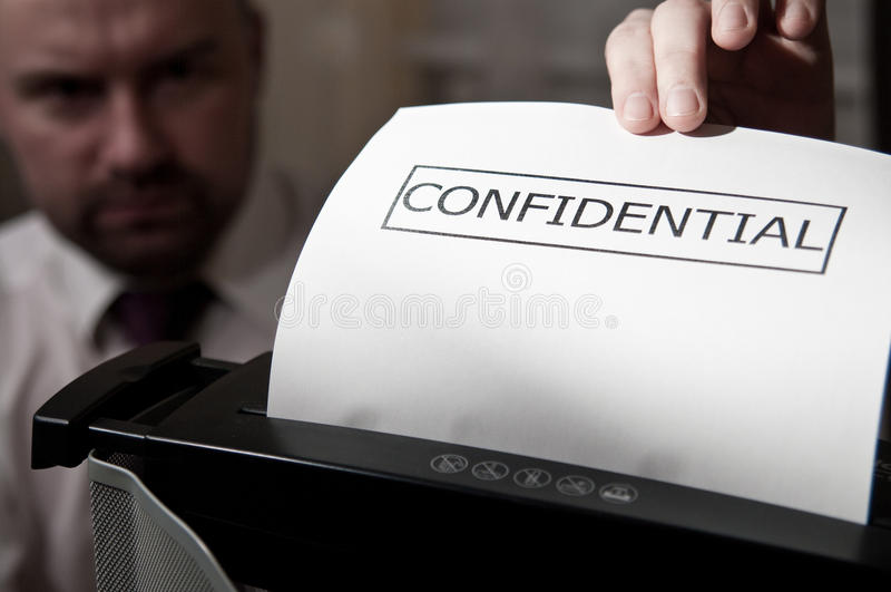 Shredder confidencial foto de stock