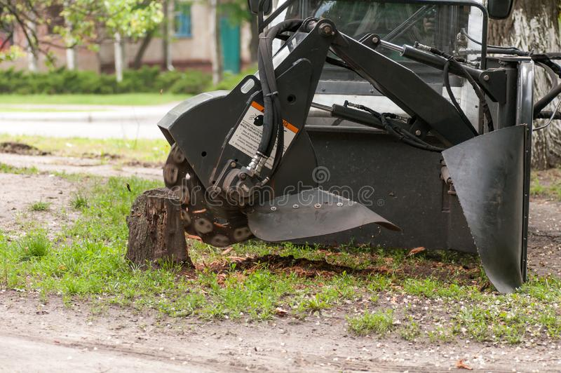 Shredder for sawn wood. Close-up stock photo