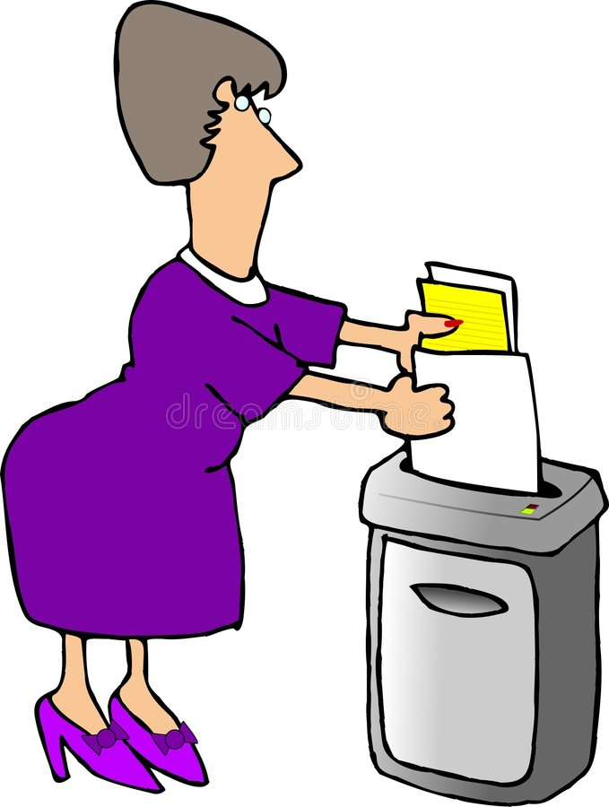 Shredding documents. This illustration that I created depicts a woman using a paper shredder vector illustration