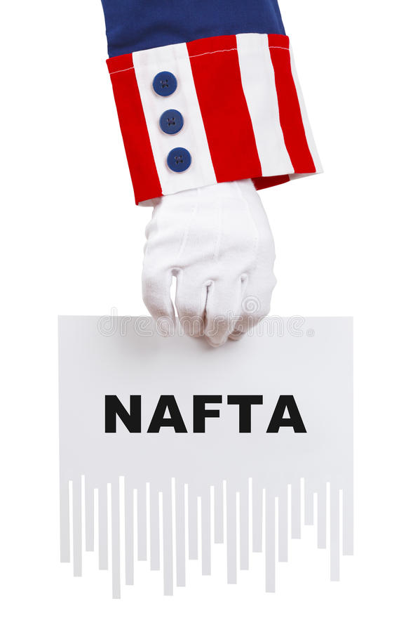Shredding NAFTA Document stock photo