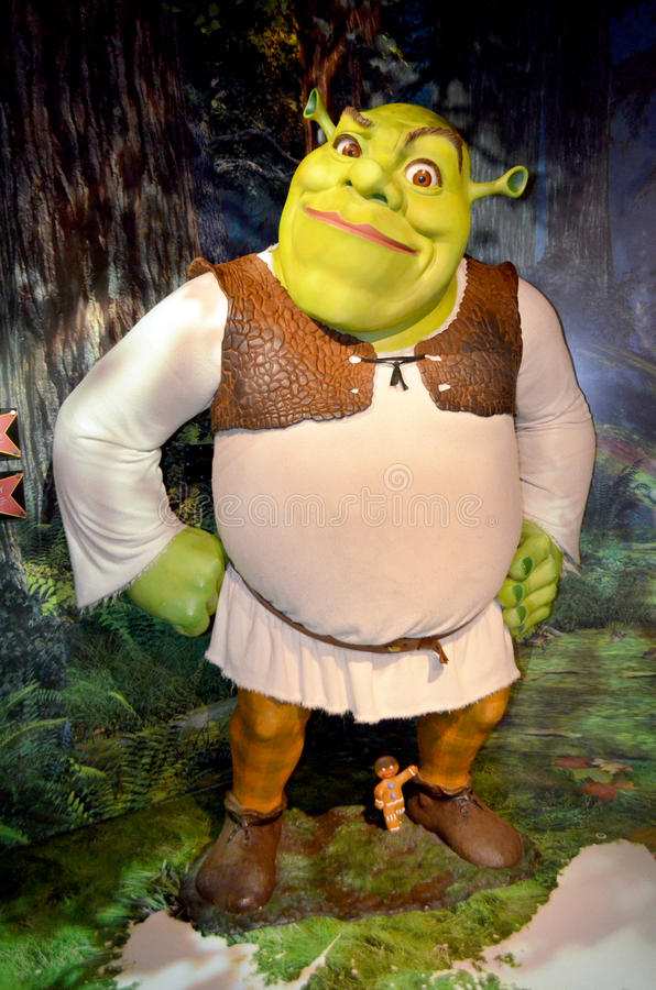Shrek på madamen Tussauds royaltyfria foton