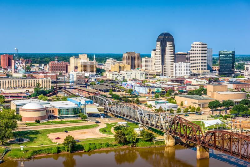 Shreveport, Luizjana, usa linia horyzontu fotografia royalty free