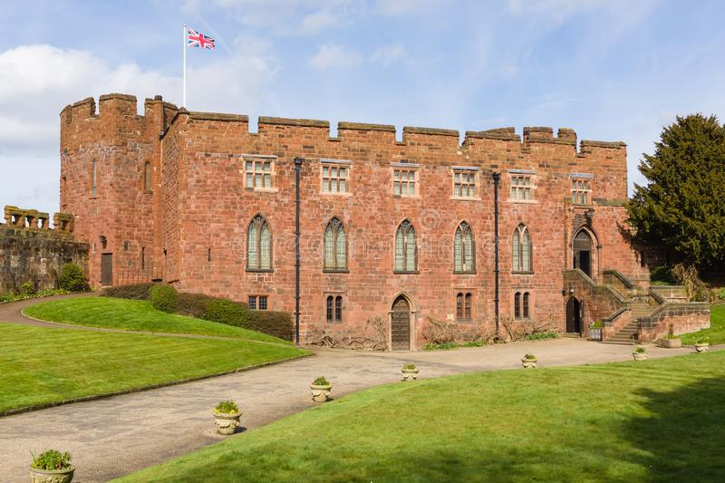 Shrewsbury Castle. Built in red sandstone by Edward the first circa 1300 over an earlier Norman keep it now houses the Shropshire Regimental Museum stock image
