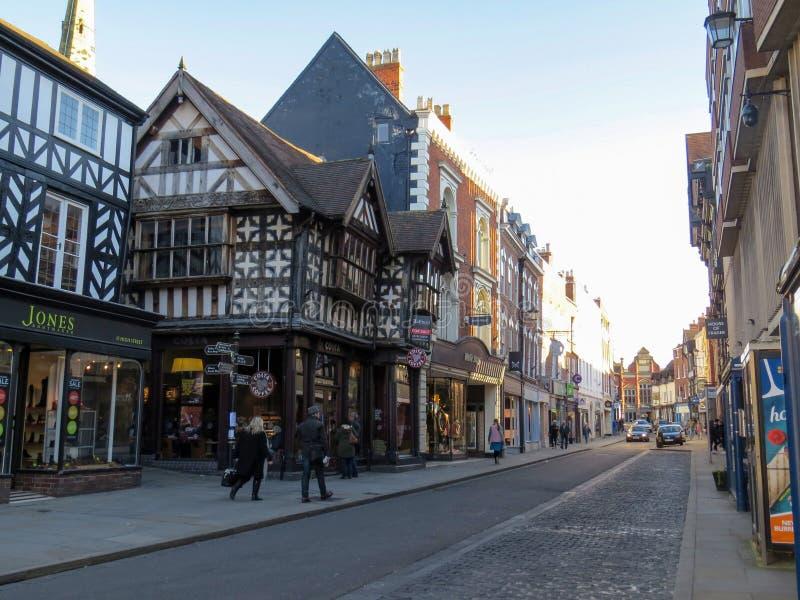Shrewsbury Shropshire, Anglia,/- 23 2016 Oct: Głowna ulica Shrewsbury fotografia royalty free
