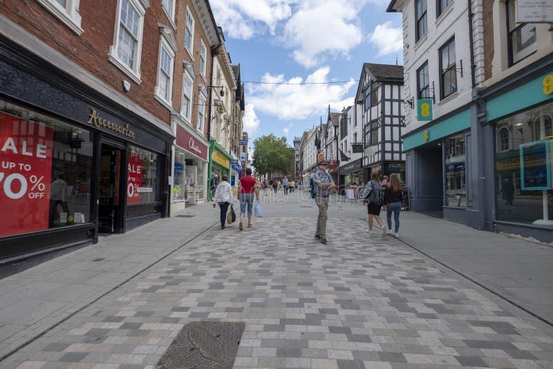 Shrewsbury,Shropshire/England - 18 July 2019: Pride hill in Shrewsbury. Shrewsbury`s Pride Hill pedestrian zone in Shrewsbury Shropshire in 2019 royalty free stock images