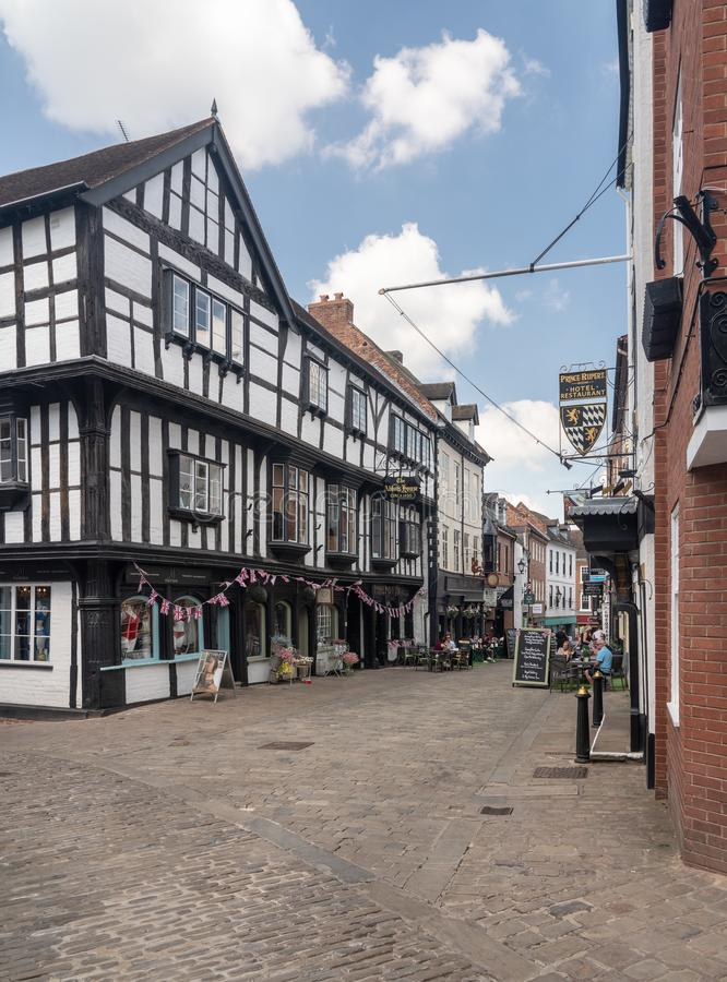 Butcher Row in Shrewsbury, Shropshire stock image