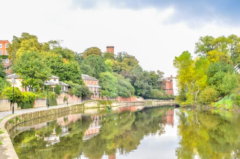 Shrewsbury Town river scene with residential homes royalty free stock images