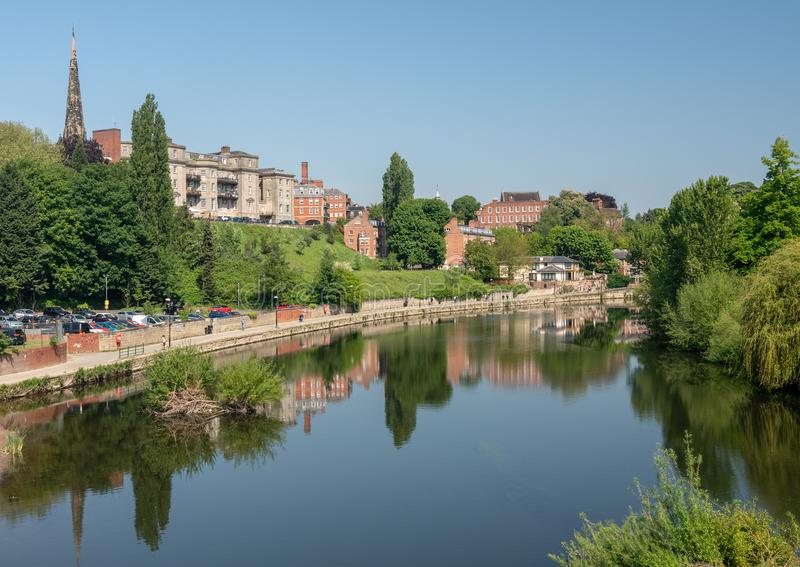 Skyline of Shrewsbury above river Severn stock photos
