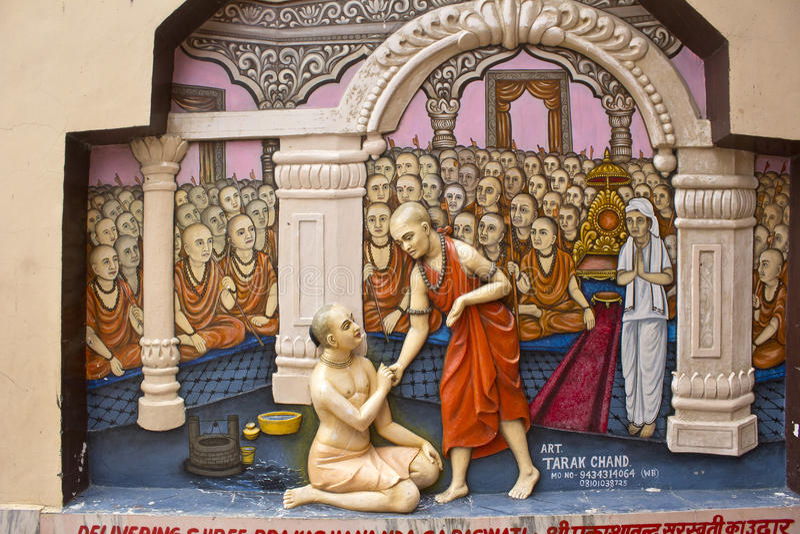 Shri Chaitanya en Mayavadis royalty-vrije stock fotografie