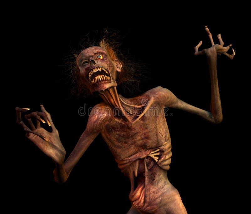 Shrieking Zombie on Black vector illustration