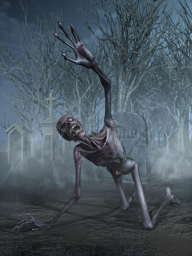 Shrieking Zombie in a Graveyard. A horrified shrieking zombie crawls through a cemetery - 3D render vector illustration