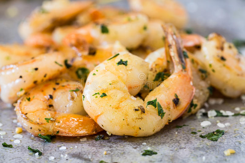 Shrimp Appetizer on Metal Pan Close Up royalty free stock images