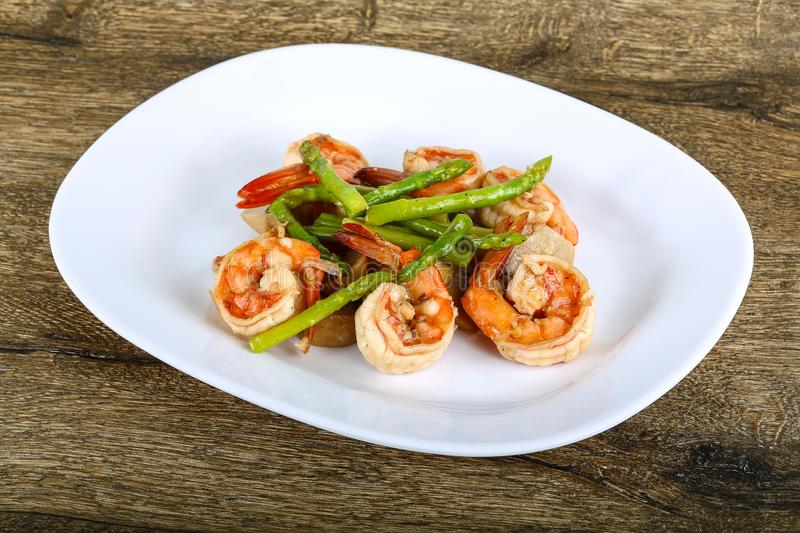 Shrimp and asparagus stock images