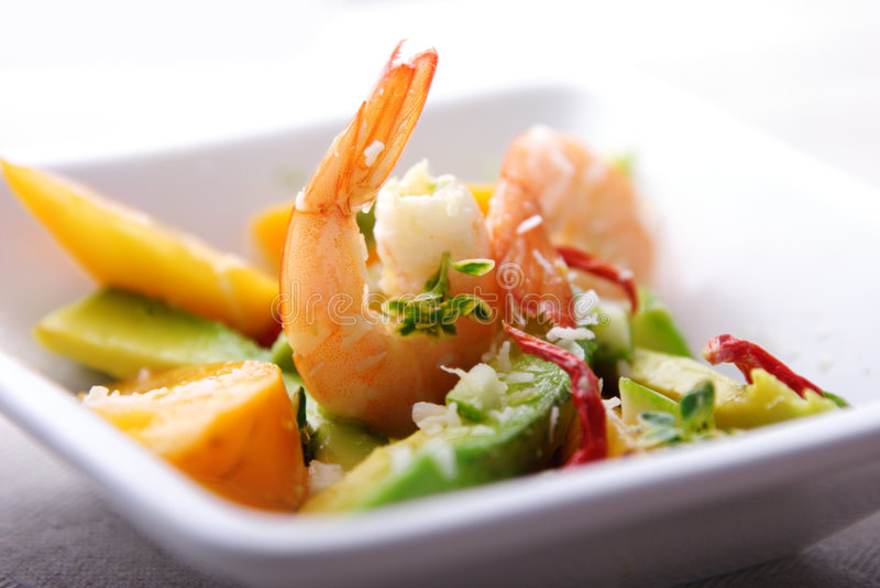 Shrimp,avocado and mango salad royalty free stock photos