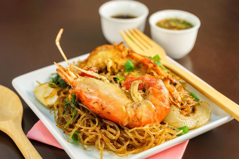Shrimp baked with vermicelli stock image