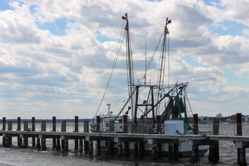 Shrimp Boat docked at Mayport, Florida stock images