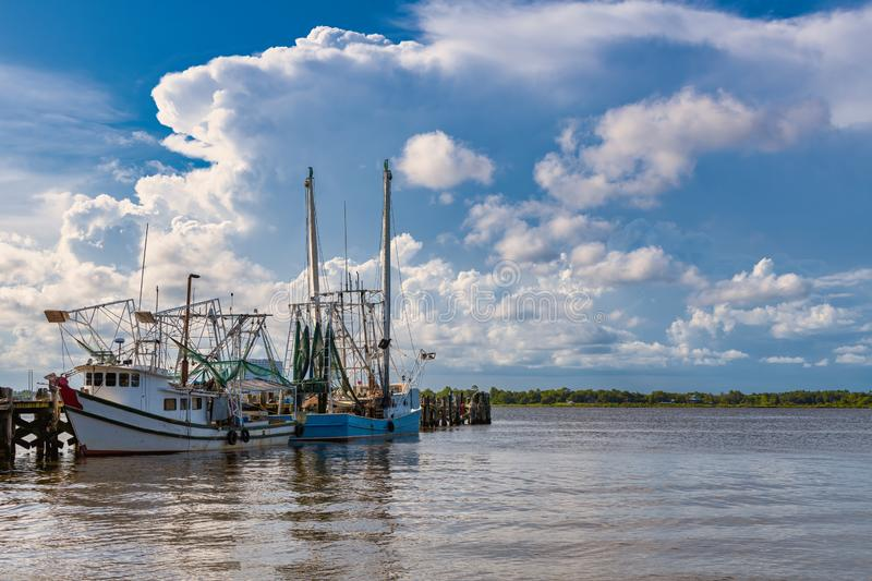 Shrimp boats royalty free stock photography