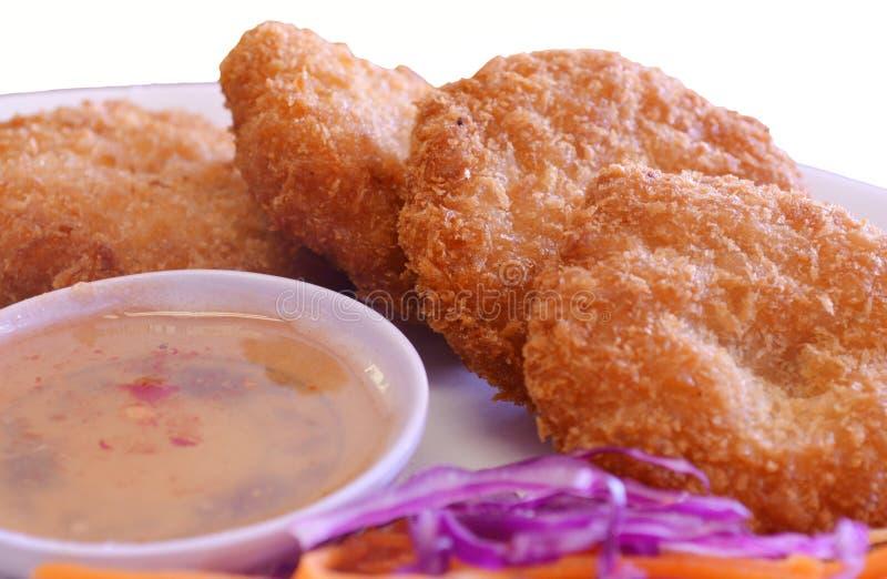 Shrimp Cakes. Thai shrimp cakes with chili sauce stock photos