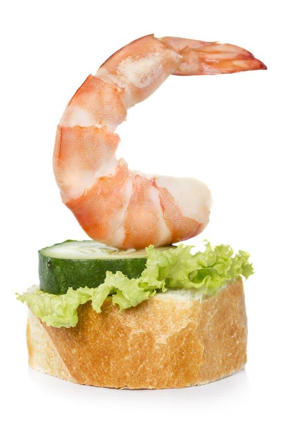 Shrimp canape royalty free stock photography