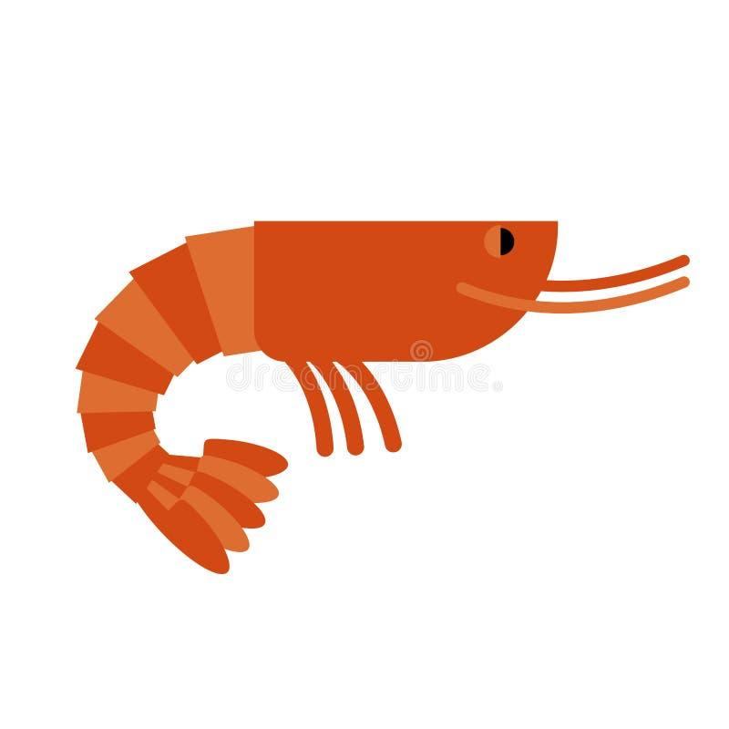 shrimp Cancroid marinho Guloseima fervida do camarão S alaranjado cozinhado ilustração do vetor