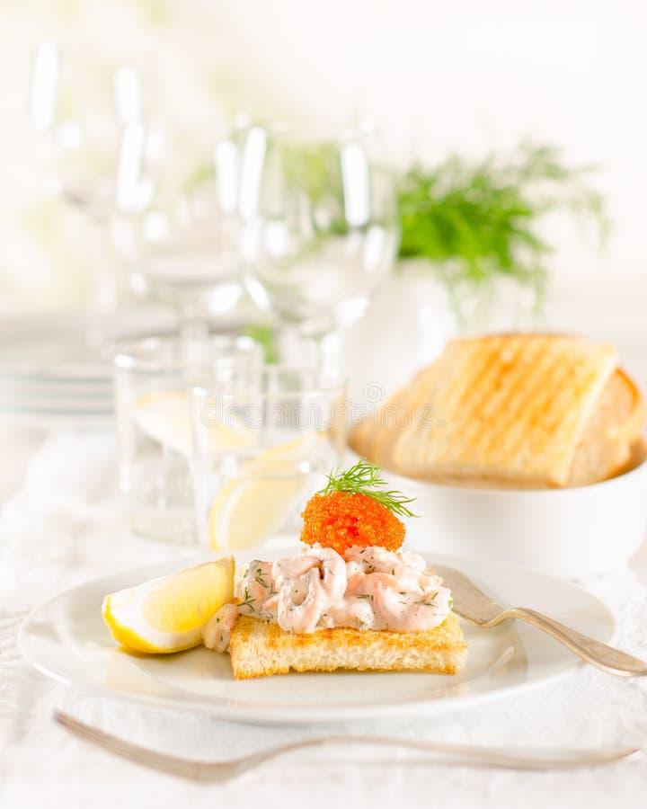Shrimp and caviar appetizer royalty free stock photos