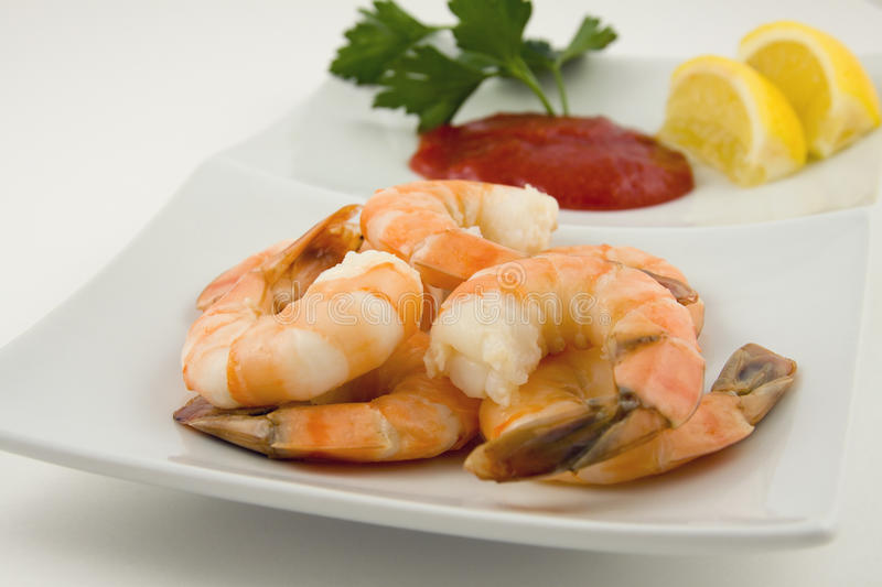 Shrimp cocktail on plate with sauce royalty free stock image