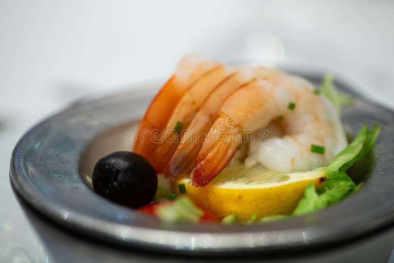 Shrimp Cocktail without Sauce stock photo