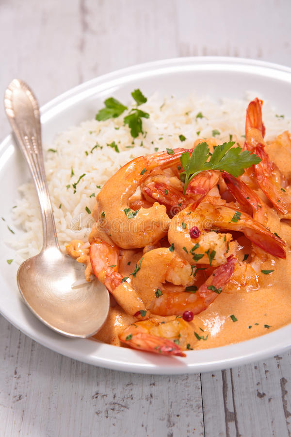 Shrimp with coconut milk stock images