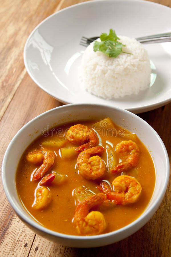 Shrimp curry with rice. stock image