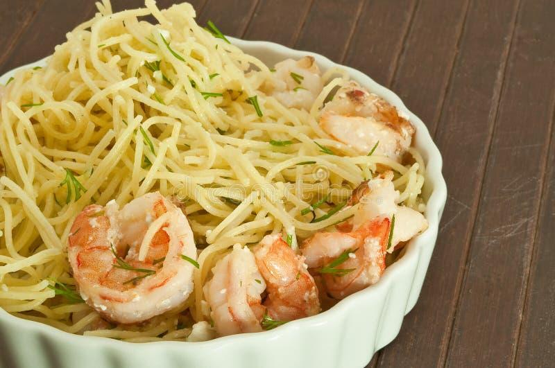 Shrimp feta and dill pasta stock image