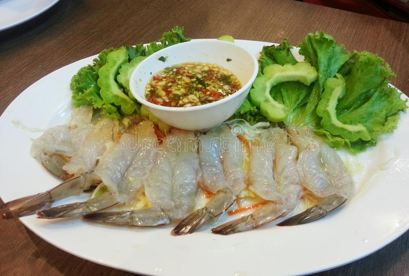 The shrimp in the fish sauce, Thai food. The shrimp in the fish sauce eat with seafood sauce royalty free stock image