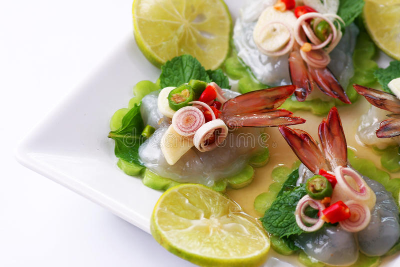 Shrimp in fish sauce Thai sea food royalty free stock photo