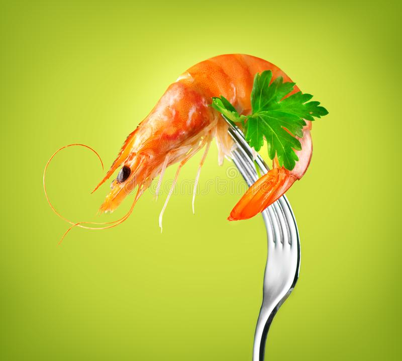Shrimp. Fresh Prawn on a fork rotated on Green Background. Seafood, preparing healthy gourmet food. Healthy eating, cooking, diet, nutrition concept vector illustration