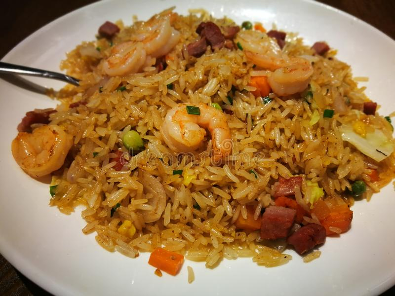 Shrimp Fried rice. , with white plate stock images
