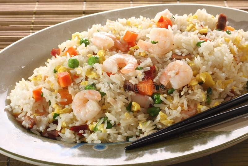 Shrimp fried rice. Spring vegetables stock photos