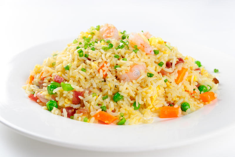 Shrimp fried rice. Asian seafood fried rice, close up royalty free stock images