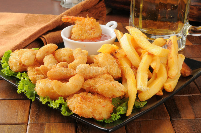 Download Shrimp, Fries And Beer Stock Image - Image: 27154061