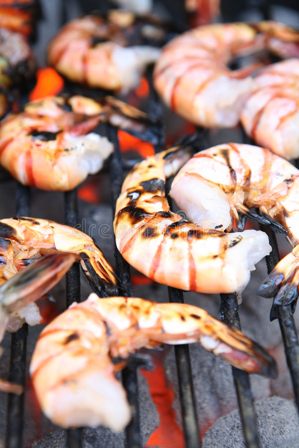 Shrimp on Grill. Delicious looking shrimp on the grill ready to eat