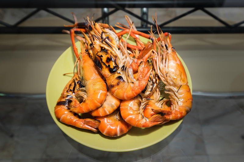 Shrimp grill. Top of Tai Kung Pao dishes hrs royalty free stock photography