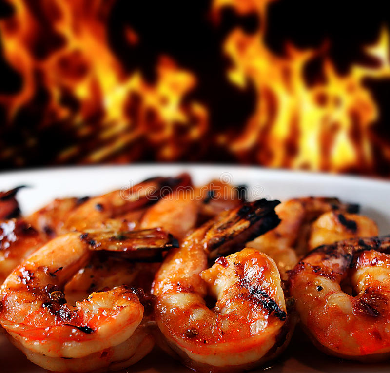 Shrimp grilled royalty free stock photos